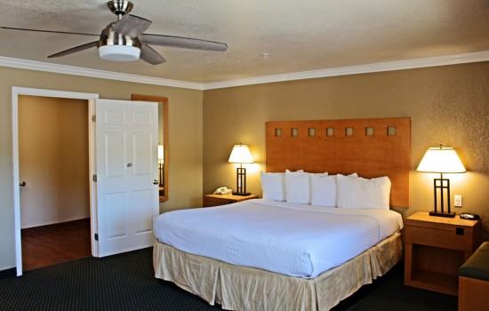 Lake Point Lodge - ADA King - Bed + Bathroom